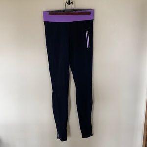 Lululemon Black Leggings Purple Waistband